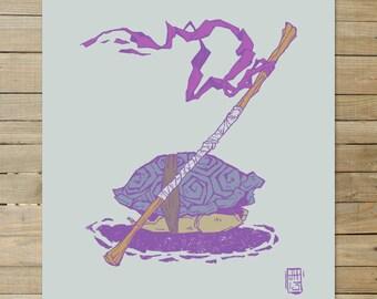 Donatello - TMNT series | 9 x 12 Art Print |  japanese ink purple drawing