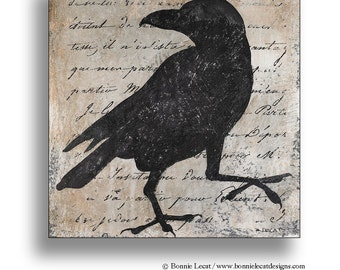 Rustic Bird Wall Painting, Raven Painting, Folk art Crow Painting, Graphic Black and White Silhouette Painting, Shabby Chic Black Bird Art