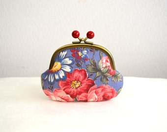 SALE Vintage Blue Floral Candy coin purse