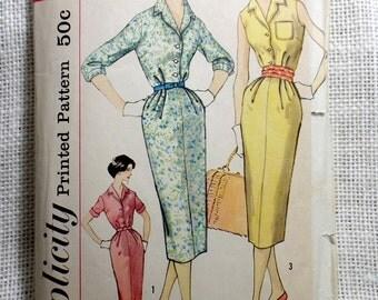 Vintage Pattern Simplicity 2504 dress sewing Wiggle Dress Shirt Shirtwaist 1950s Bust 38 1950s Rockabilly retro