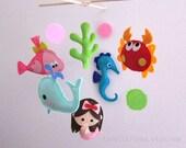"Baby Mobile - Little Mermaid Crib Mobile - Handmade Nursery Mobile - ""Princess Mermaid World"" (Match your bedding)"