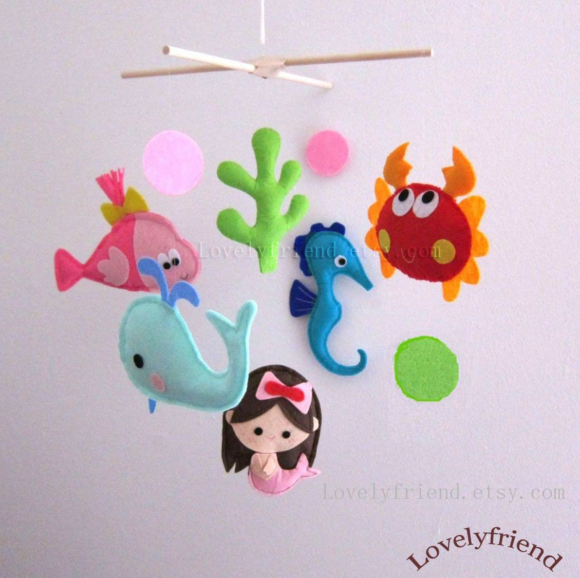 Baby mobile little mermaid crib mobile handmade nursery for Sea animal baby mobile