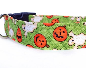 Halloween Dog Collar /  Pumpkin Dog Collar / Fall Dog Collar / Ghost Dog Collar / Autumn Dog Collar / Halloween Collar / Adjustable Collar
