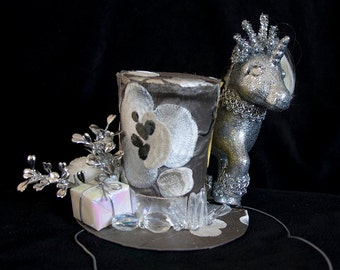 My Little Pony Sparkle Hat - silver glitter Mad Hatter Top Hat