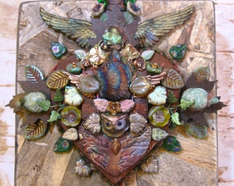 heart owl turtle buddha  totem shield - mixed media assemblage
