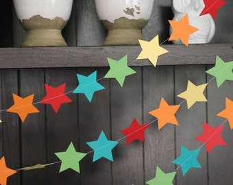 Star Garland, Paper Garland, Rainbow Garland, Birthday Garland, Wedding Garland, Shower Garland: Rainbow