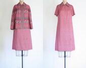 polyester dress & jacket set - vintage 70s / Coral Paisley - retro / Groovy