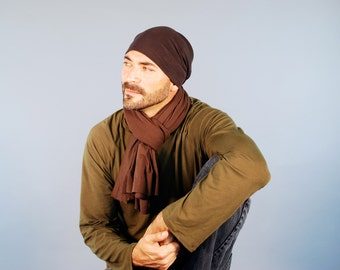 Unisex Scarf - Men's Scarf - Organic Cotton - Brown - Eco Friendly - Jersey Scarf