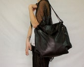 80's Oversized Black Leather Slouchy Purse