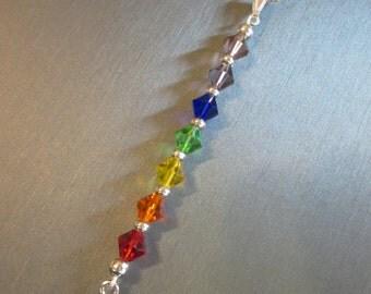Chakra Necklace, Silver Ohm, Chakra Pendant, Yoga Necklace, 7 Chakra Necklace, Rainbow Pendant Necklace, Silver Chakra Necklace, Swarovski