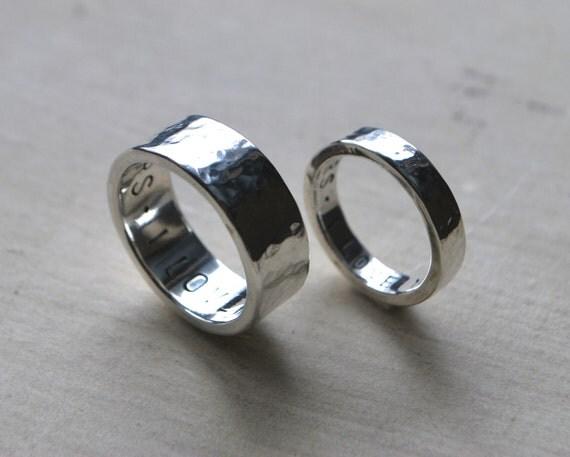 items similar to hammered silver wedding band set