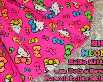 Big print NEON Hello Kitty with Bows and Polka Dots Kawaii Lolita Skirt - ANY SIZE
