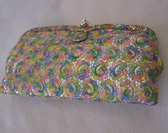 "Vintage 70's ""SPRING COLORED HANDBAG""  Dressy Clutch / Purse With Scalloped Frame"
