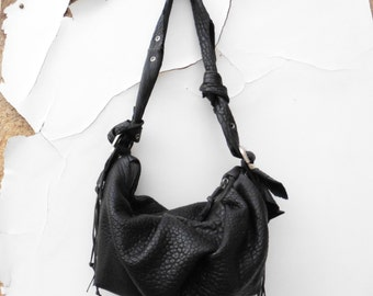 Slouchy Soft Gathered Leather  Purse in Bubble Texture Leather  - Made to Order
