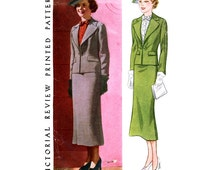 1930s Suit Pattern Bust 42 Pictorial Review 8345 Straight Skirt Wide Lapels Fitted Jacket and Dickey Gilet Womens Vintage Sewing Patterns