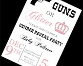 GENDER REVEAL Baby Shower Invitation - Guns or Glitter