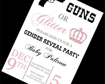 Guns or Glitter Gender Reveal Invitation | Guns or Glitter | Guns or Glitter Gender Reveal | Gender Reveal Ideas | Gender Reveal Party