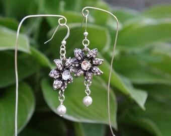Aurora Rhinestone Pearl Earrings