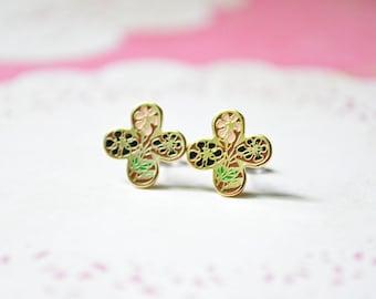 Enamel Earrings - Pink & Black Flowers - Clover - Flower Earrings - Surgical Steel Earrings - Stud Earrings