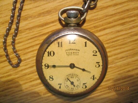 vintage ingraham viceroy pocket made in usa clock