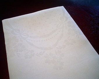 Damask Linen Napkins with Dots and Flower Swags, Set of 11 White Hemstitched Vintage Napkins
