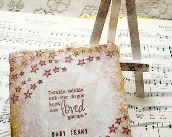 Baby Girl Gift - Twinkle, Twinkle Little Star Personalized Baby Stone Sign Plaque Keepsake Pink Gift