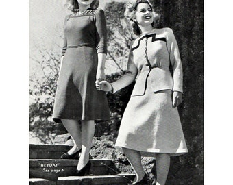 1940s Vintage Knitting Patterns for Women's Dresses Skirt Suit Jackets Patons and Baldwins No. 185 Original Knitting Booklet