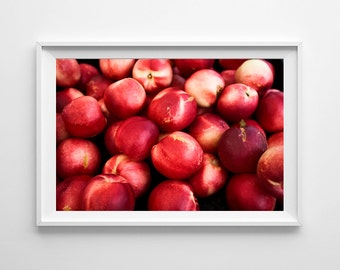 Red Kitchen Decor Food Photography - Nectarines Farmers Market Art - Kitchen Wall Art, Red Home Decor - Oversized Art Prints Available