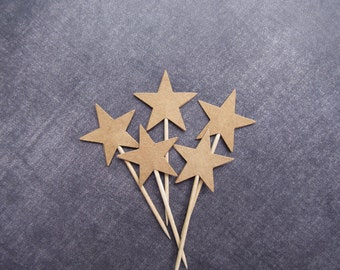 Kraft Star Cupcake Toppers, Double-Sided, Party Decor, Rustic, Wedding, Shower, Birthday, Graduation, Set of 24