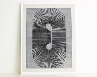 "Use code THX30 for 30% off . Large Original Etching . Gray+Black . Minimalist: ""Cassette"". Size 21"" x 27"". Unframed"