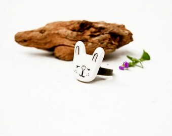 Ceramic Bunny Ring Animal, Unusual Ring Kawaii Jewelry, Etsy Ceramics Jewelry, Ring Adjustable, Ceramics and pottery, Ceramic Jewellery ooak