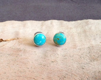 Round Turquoise Stud Earrings- Turquoise Sterling Silver Studs- Turquoise Post Earrings- Turquoise Earrings- Round Turquoise Studs- Gift