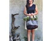 Waxed canvas bucket bag -- grey & dark brown