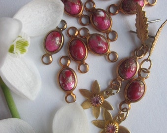 Vintage Raspberry  Glass  And Brass Connector Beads