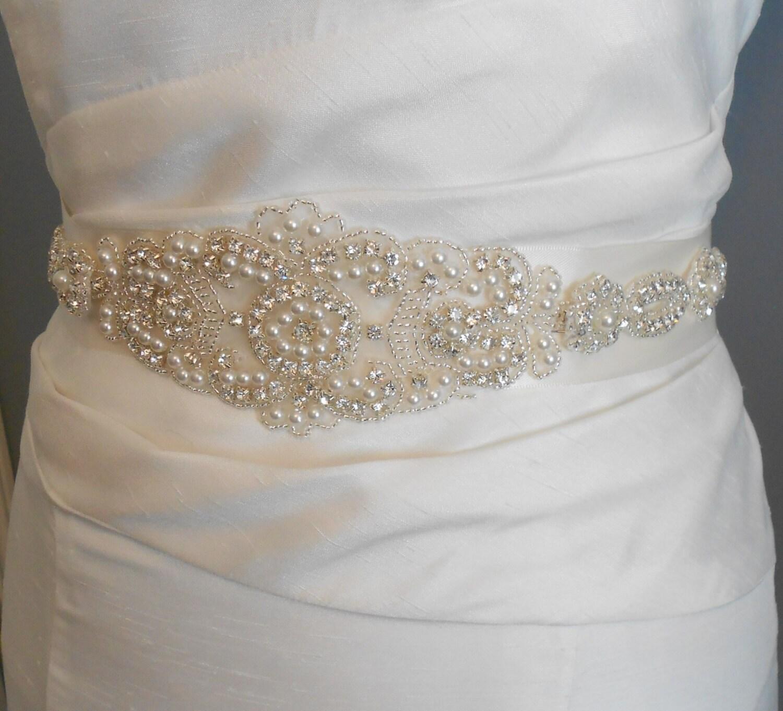 Bridal Sash Beaded Sash Wedding Dress Sash Rhinestone and