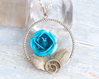 Blue Rose and silver Leafs - Pendant and Necklace