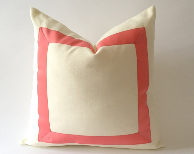 Decorative Throw Pillow Cover -Cotton Canvas with Grosgrain Ribbon Border - Cushion Covers