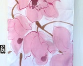 Large Silk Scarf Handpainted, Mauve Pink Orchids with Jewel Tone Wine Purple, Pink Silk Scarf, Silk Scarves Takuyo. 22x90 inches.