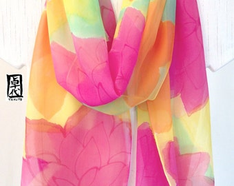Pink Floral Scarf, Hand Painted Large Silk Scarf, Pink Spring Scarf, Pink Flower Party, Handmade in the USA, 14x72 inches, Made to order
