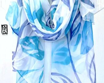 Hand Painted Silk Shawl Scarf Blue Zen Spring Vines. Large Silk Scarf. Blue Floral Scarf. Silk Chiffon Wraps Shawls. 43x72  in.