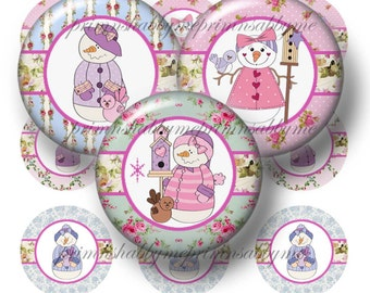 Snowman, Bottle Cap Images, 1 Inch Circles, Digital Collage Sheet, Printable, Instant Download, Shabby Cottage Chic (RC1)