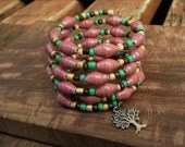 One of a kind Paper bead emory wire bracelet ~ red, yellow, green, & brown ~ tree of life charm