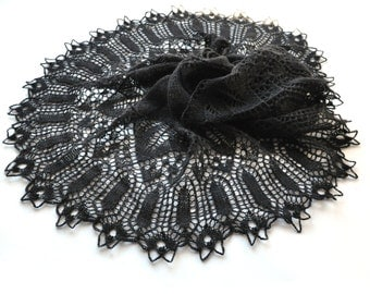 Black Knit Shawl, Goth Knit Shawl, Lace Shawl, Black Lace Shawl, Knit Lace Shawl, Black Lace, Knit Lace, Made to order