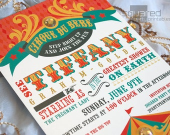 Circus Baby Shower Invitation - DIY Print - Vintage Cirque du Bebe - Made to Order - Printed Invitations