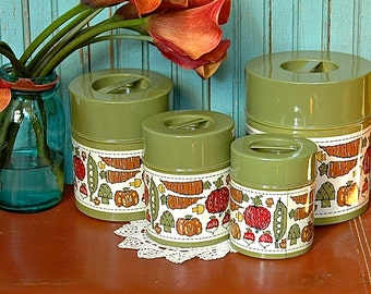 Vintage Kitchen Tin Canister Set Nesting Tins 4 Green Vegetables Retro Veggies Garden Farm
