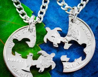 Turtle Necklace, friendship set, Interlocking Hand cut coin