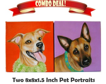 Two 8x8x1.5 inch Custom Dog Portraits Acrylic / Custom Pet Portraits - 1 to 2 Pets Close-Up Solid background Gift Memorial Nursery Puppy