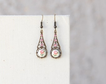 French Rose Earrings, Pink Rose Jewelry, Vintage Style, Romantic Jewelry, Filigree Jewelry, Dainty Earrings, Jewelry Under 30, Gifts For Her