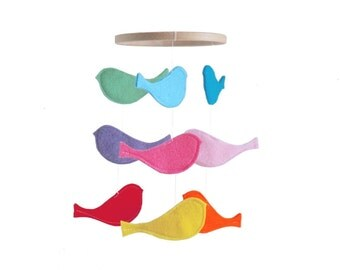 Bird Baby Crib Mobile - Bright Rainbow