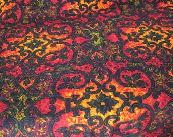 "Vintage Fabric - Autumn Jewel Tones - 64""L x 56""W - Retro Sewing Fabric - Mid Century - Decorator Upholstery Fabric"